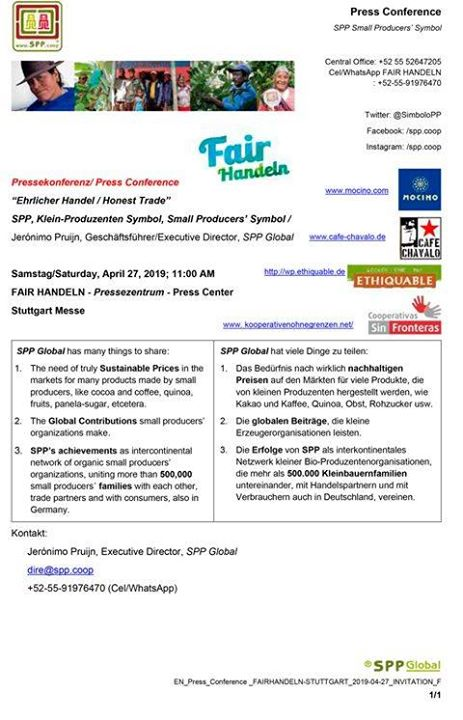 SPP - Símbolo de Pequeños Productores kämpft dafür, dass Kleinbäuerinnen und -bauern wirklich nachhaltige Preise für ihre Produkte erhalten. Erfahrt alles über ihre Mission und ihre aktuellen Projekte bei ihrer Pressekonferenz morgen, Samstag, u...