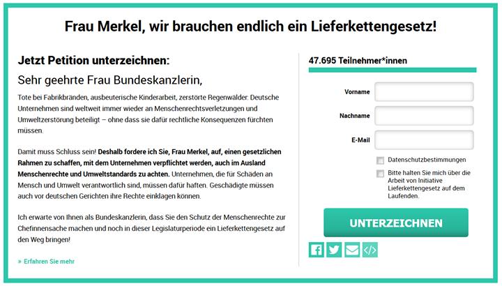 Damit deutsche Unternehmen im Ausland Menschenrechte achten und Umweltzerstörung vermeiden: Jetzt Petition unterschreiben auf www.lieferkettengesetz.de! ✊? #GegenGewinneOhneGewissen