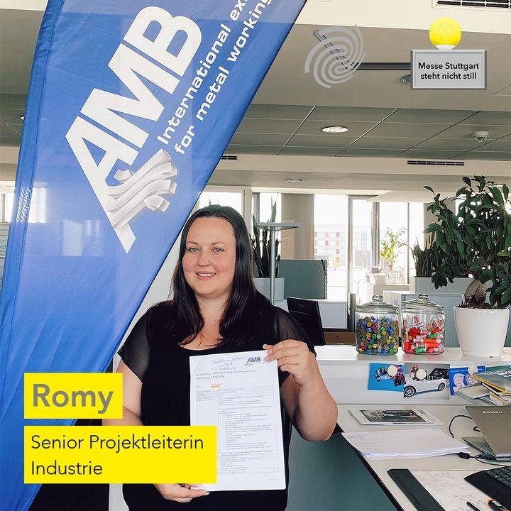"""Die Messe Stuttgart steht nicht still! ? Da die AMB in diesem Jahr nicht wie gewohnt stattfinden kann, organisiert Romy mit ihrem Team das neue Konzept """"AMB Technologieforum"""", das am 17.9. Premiere feiert. ? Dabei berücksichtigt sie alle Ma?..."""