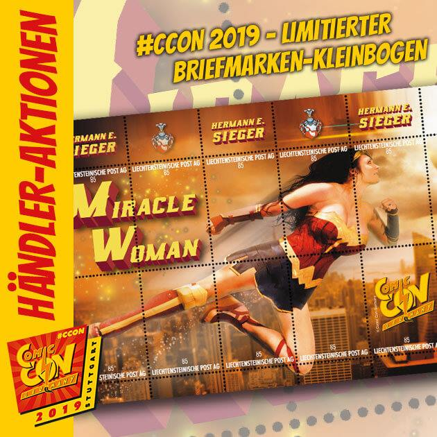 """Die Hermann E. Sieger GmbH hat dieses Jahr an ihrem Stand wieder einen limitierten Briefmarkenkleinbogen mit dem Motiv ihrer eigenen Wonder Woman-Version """"Miracle Woman"""" für alle Sammler im Angebot. Limitiert auf 499 Stück. Ein schönes Souvenir zur..."""