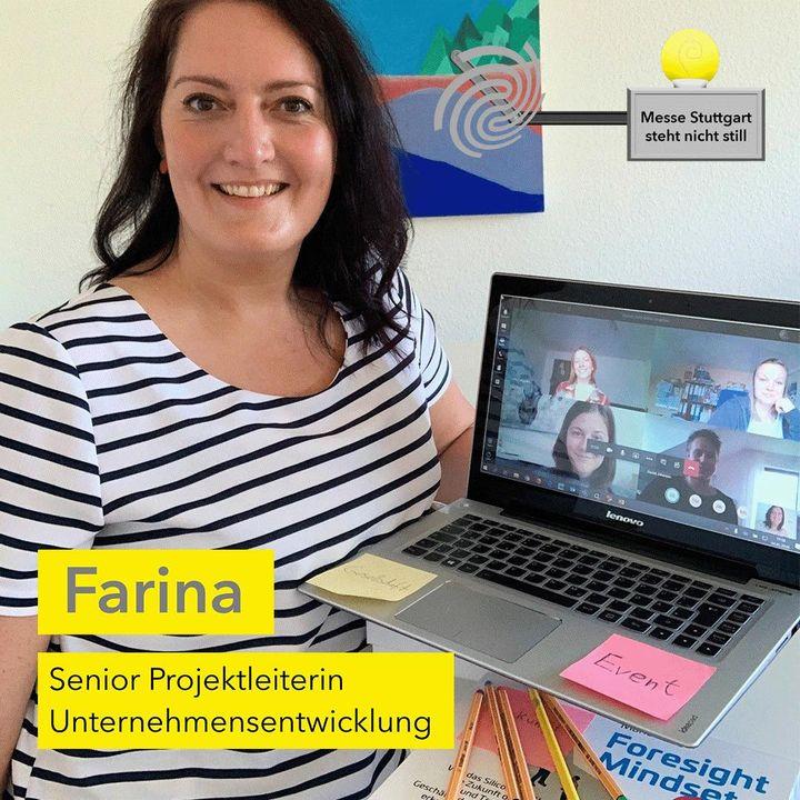 """Die Messe Stuttgart steht nicht still! ? Umso wichtiger ist es für Farina, Senior Projektleiterin UE, ihren Blick auf die Zukunft zu richten! ? Sie erarbeit gemeinsam mit unseren Azubis & DHBWlern Themen wie """"Eventbranche  – wo geht es hin?..."""