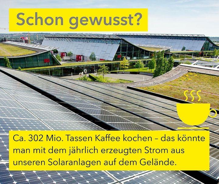 Schon gewusst? ? Die Solarkollektoren auf den Dächern der Hallen, des ICS Gebäudes und auf dem Bosch-Parkhaus produzieren jährlich insgesamt 4,32 Millionen kWh Strom. ?? Damit könnte man in etwa 302 Millionen Tassen Kaffee kochen. ☕ Hmm,...