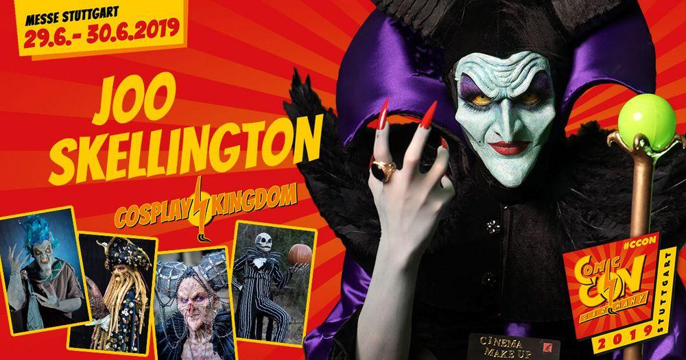Joo Skellington ist ein Make Up und Transformations Artist aus Mexico, der am liebsten animierte Charactere in lebensechte Figuren und Monster verwandelt. Erlebt ihn live auf der CCON | COMIC CON GERMANY