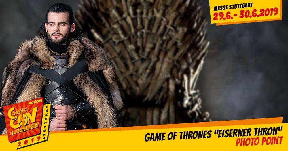 Der Photo Point: Game of Thrones Thron extra aus den Sieben Landen und direkt zur CCON | COMIC CON GERMANY wurde der Eiserne Thron gebracht. Du wolltest dich schon immer mal wie ein Gebieter der Sieben Königreiche fühlen? Dann hast du bei uns die Mö...