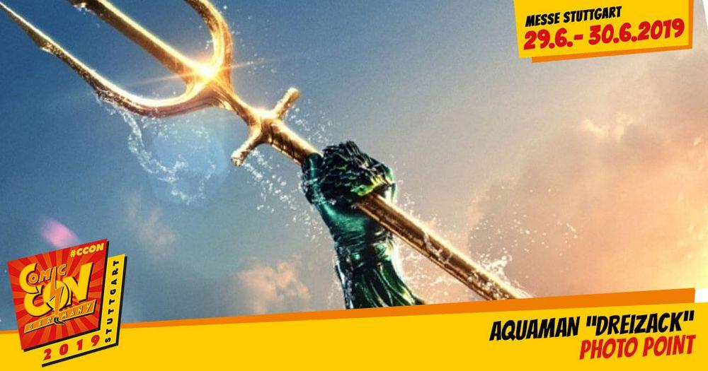 Beim Photo Point: Aquaman Dreizack auf der CCON | COMIC CON GERMANY kannst du dich ganz wie DC Comics-Superheld Aquaman fühlen und deine übermenschlichen Kräfte unter Beweis stellen. Genau wie im gleichnamigen Kinohit ist es deine Aufgabe, den Dreiz...