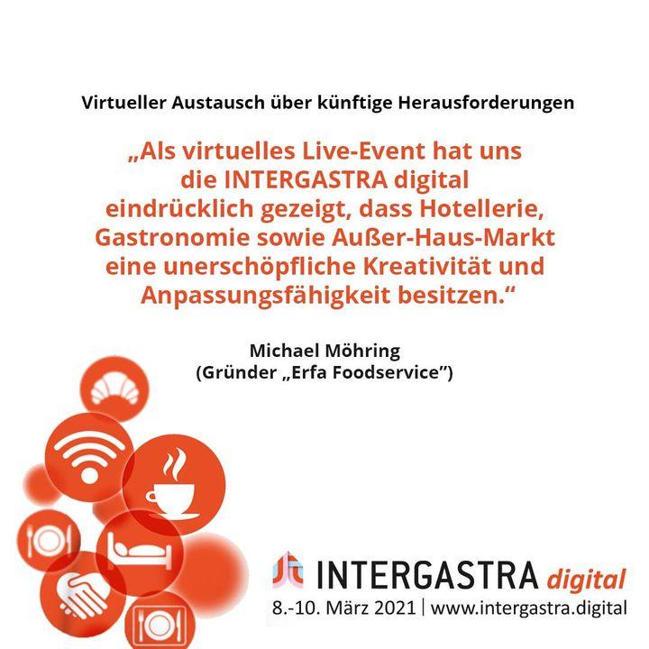 Die #INTERGASTRAdigital hat einen virtuellen Austausch über zukünftige Herausforderungen und Chancen ermöglicht. ? ➡️Alle Infos zur Veranstaltung auf www.intergastra.digital⬅️ #INTERGASTRAdigital2021 ErfaFoodService