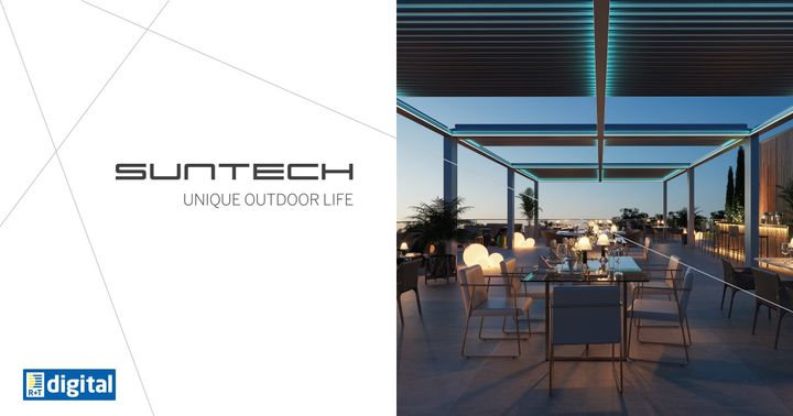 Suntech Türkiye presents you at R+T digital 2021 the world's longest opening retractable bioclimatic system Exxen with up to 9 meters opening! Exxen is a high-end scissors bioclimatic aluminum pergola system that performs the most desired function in...