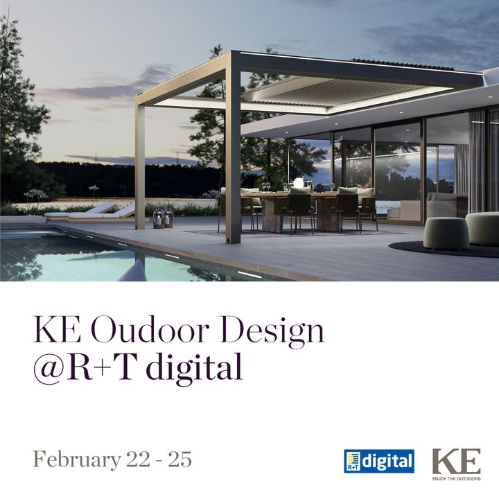 Discover KE Outdoor Design at R + T digital 2021  From 22nd to 25th February 2021, KE Outdoor Design will bring its international experience to the outdoor shading world, pursuing the goal of constant growth in Italy and abroad: a wide range of product...