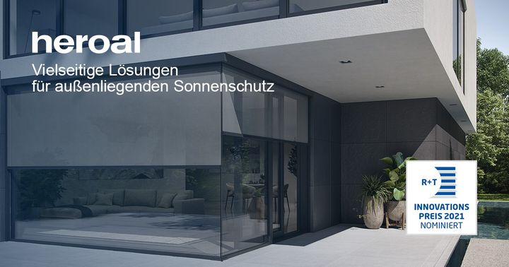 Discover various sun protection solutions from heroal at R+T digital 2021! Whether clampable zip screen with solar drive, filigree solutions for shading corner situations (e.g. all-glass corners) or harmoniously integrable awnings for the patio roof -...