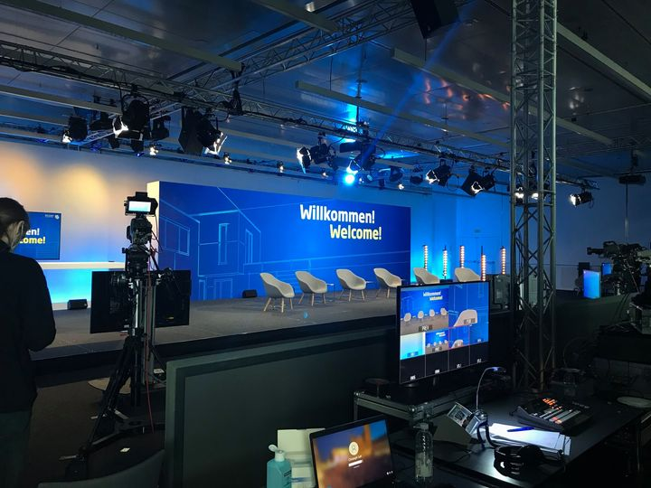 "′′ Behind the scenes "": Our live studio is ready for the first program point, the official opening at 11 pm. Our partner Neumann & Müller event technology is on site with 15 event technology specialists! Here are some exciting facts about setting:..."