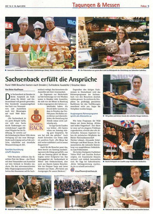 """Die Allgemeine Bäckerzeitung berichtet sehr ausführlich über """"unsere"""" Sachsenback. :-)"""