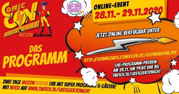 ➡️ Wenn ihr am kommenden Wochenende nicht zur CCON Comic Con Stuttgart kommen könnt, dann kommt die CCON eben zu euch! ? Per Livestream - bequem und kostenlos! ??  Unter dem Motto #CCONdahoim dürft ihr euch am kommenden Wochenende (28.-...
