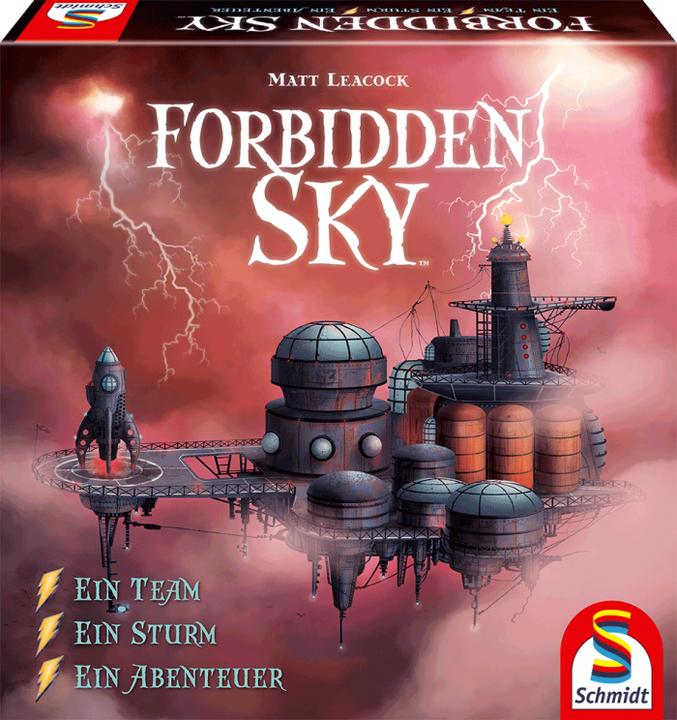 """Beim Strategiespiel """"Forbidden Sky"""" spielen alle Spieler gemeinsam gegen das Spiel. Das Team muss aus einer Wolkenstadt entkommen, die von einem fürchterlichen Sturm bedroht wird. Dieser wird nach jedem Spielzug stärker.  Da ist gute Zusammenarbeit g..."""
