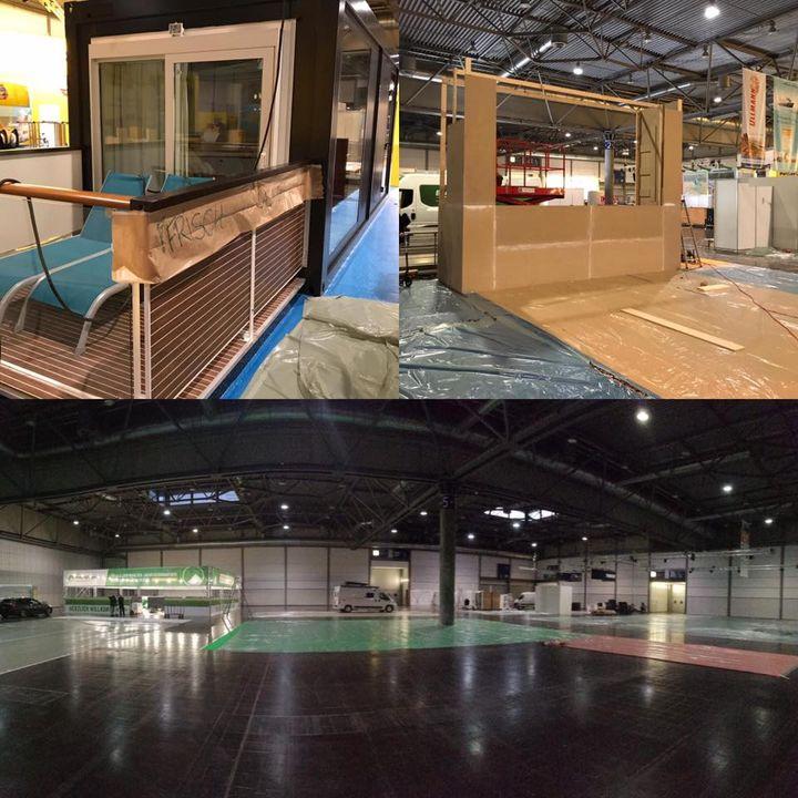 Jetzt gehts los💪: Der Aufbau nimmt Fahrt auf. Die AIDA-Kabine ist frisch gestrichen. Die Faszination Kreuzfahrt-Bühne kann man erahnen und die Caravan-Halle werdet ihr am Mittwoch nicht wiedererkennen.  👍