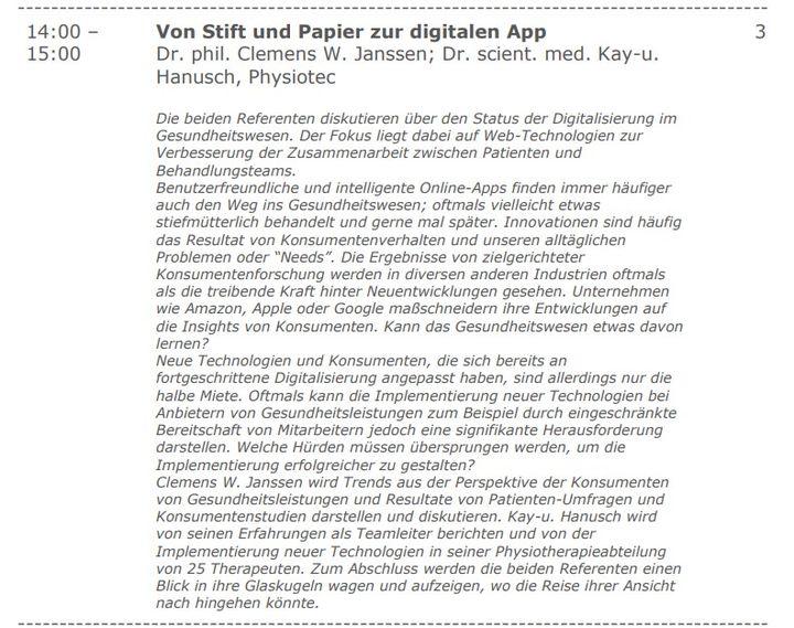 """Das Thema der Digitalisierung im Gesundheitswesen wird auch auf der #TheraPro in Essen aufgegriffen. Am Sa., 28.9. 14-15 Uhr wird im Vortrag """"Von Stift und Papier zur digitalen App"""" diskutiert, wie Online-Apps in einer Physiotherapie-Praxis implementie..."""