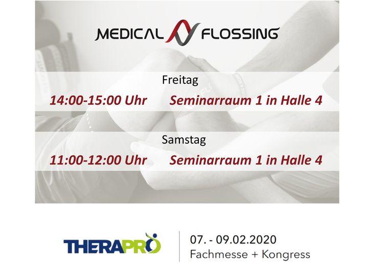 Den Seminar-/Workshopraum 1 und die Vorträge von Medical-Flossing findet Ihr bei der StandNr. 4E36 auf der Therapro - Fachmesse + Kongress 2020!